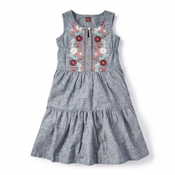 Antonella Chambray Dress for Little Girls | Tea Collection