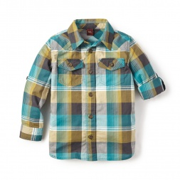 Green Cobija Plaid Shirt for Boys | Tea Collection