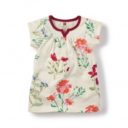Flores Pintadas Split Neck Dress for Baby Girls | Tea Collection