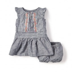Antonella Chambray Baby Dress for Girls | Tea Collection