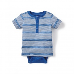Blue Mendoza Henley Bodysuit for Baby Boys | Tea Collection