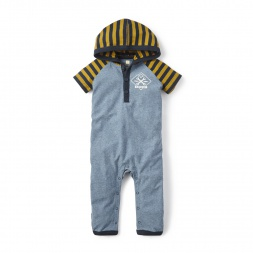 Blue Garaje Hooded Romper for Baby Boys | Tea Collection