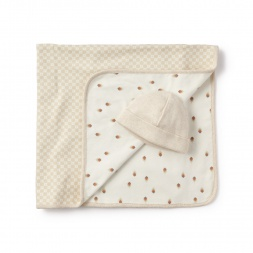 White Awki Pluma Blanket & Hat for Babies | Tea Collection
