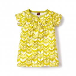 Yellow Baby Girls Komani Split Neck Dress | Tea Collection
