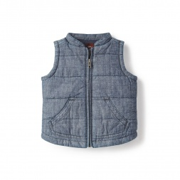 Blue Little Chambray Vest for Baby Boys | Tea Collection | Tea Collection