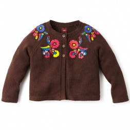Black Girls Aymara Embroidered Cardigan | Tea Collection
