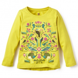 Yellow Girls Bolivian Birds Graphic Tee | Tea Collection