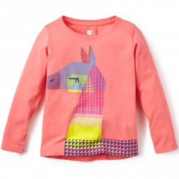 Little Girls La Paz Llama Graphic Tee Shirt | Tea Collection
