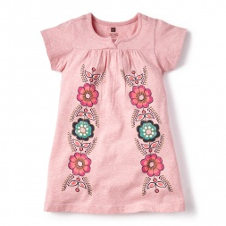 Pink Altiplano Split Neck Dress for Girls | Tea Collection