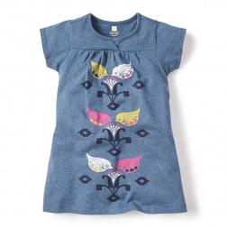 Blue Sucre Split Neck Dress for Girls | Tea Collection