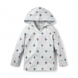 Gray For the Birds Happy Hoodie for Boys | Tea Collection