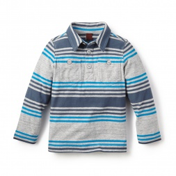 Blue Guarani Stripe Polo Shirt for Little Boys | Tea Collection
