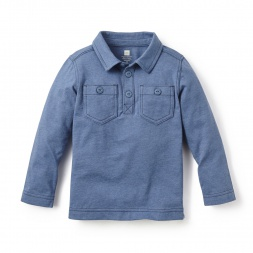 Blue Denim Like Polo for Little Boys | Tea Collection