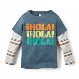 Long-Sleeved Hola Graphic Tee Shirt for Boys | Tea Collection