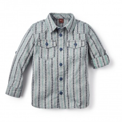 Blue Chambray Dobby Shirt for Boys | Tea Collection