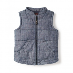 Sleeveless Quilted Chambray Vest for Little Girls | Tea Collection