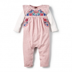 Baby Girls Yarii Embroidered Romper | Tea Collection