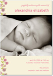 girl photo birth annoucement  abundant blooms