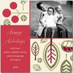 flat christmas photo cards leafy cheer