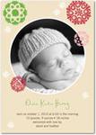 girl photo birth annoucement patterned snowflakes