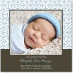 boy photo birth annoucement tulip textile