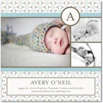 boy photo birth annoucement hexa floral: peppermint