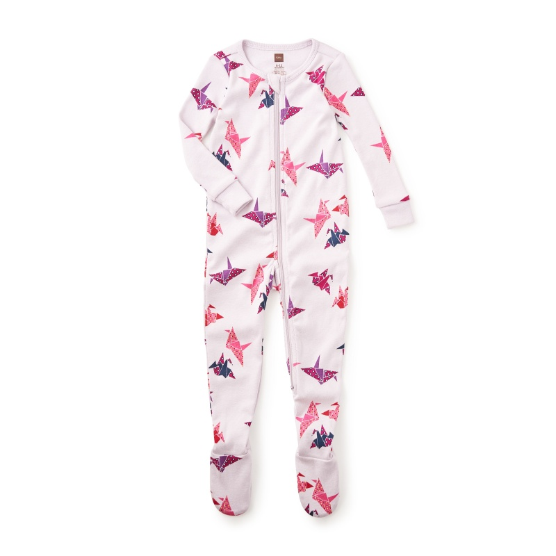 Paper Crane Footed Baby PJs