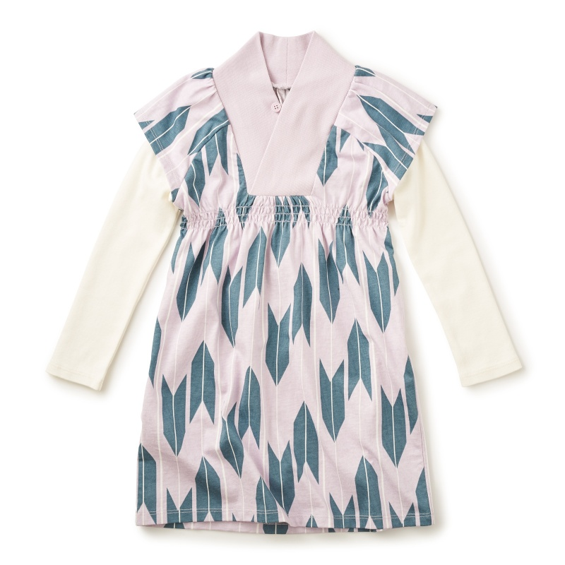 Yagasuri Kimono Neck Dress