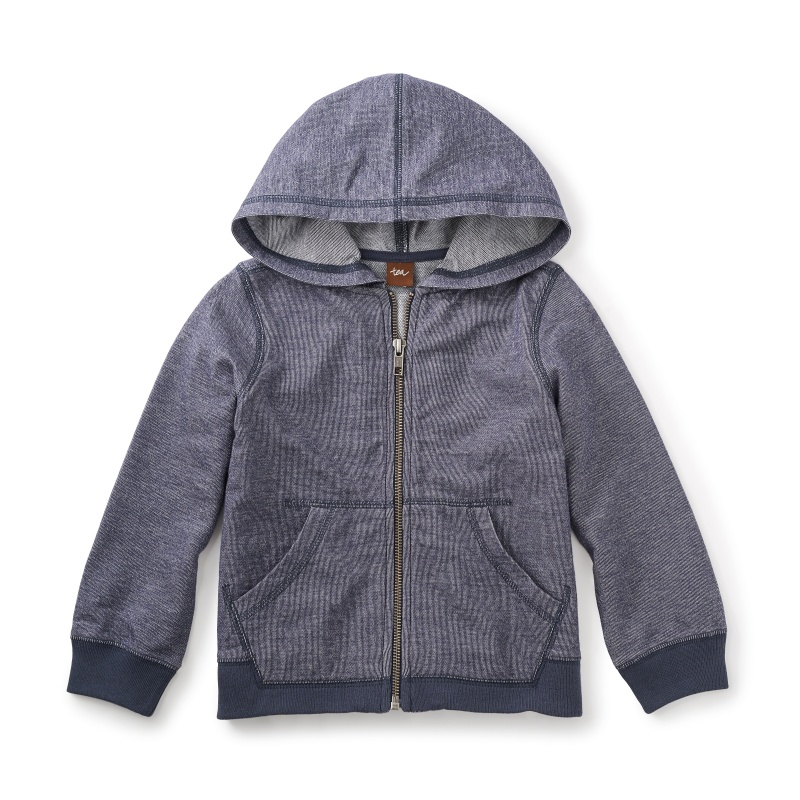 Seaside Denim Like Zip Hoodie