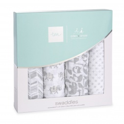 tea x aden + anais Savanna Animals Swaddle 4pk