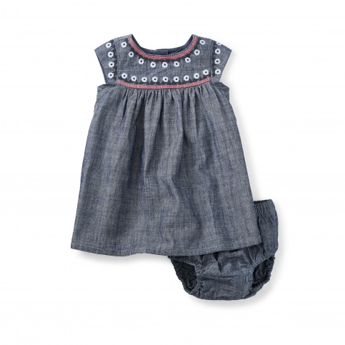 Fig Street Embroidered Chambray Baby Dress