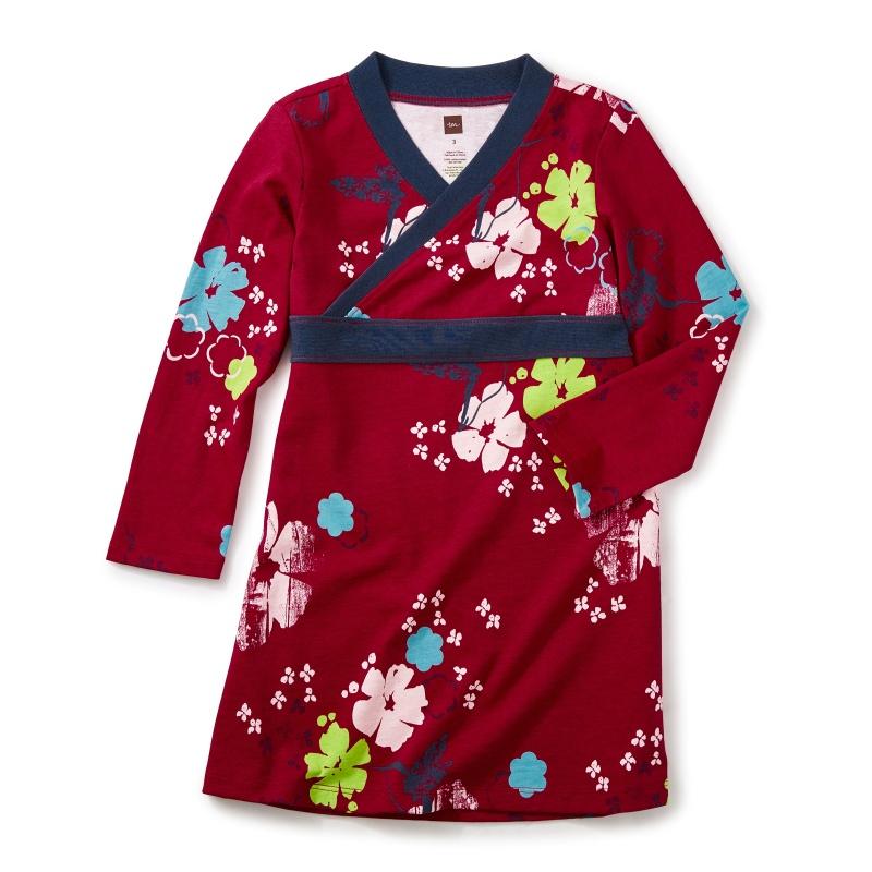China Hummingbird Wrap Neck Dress