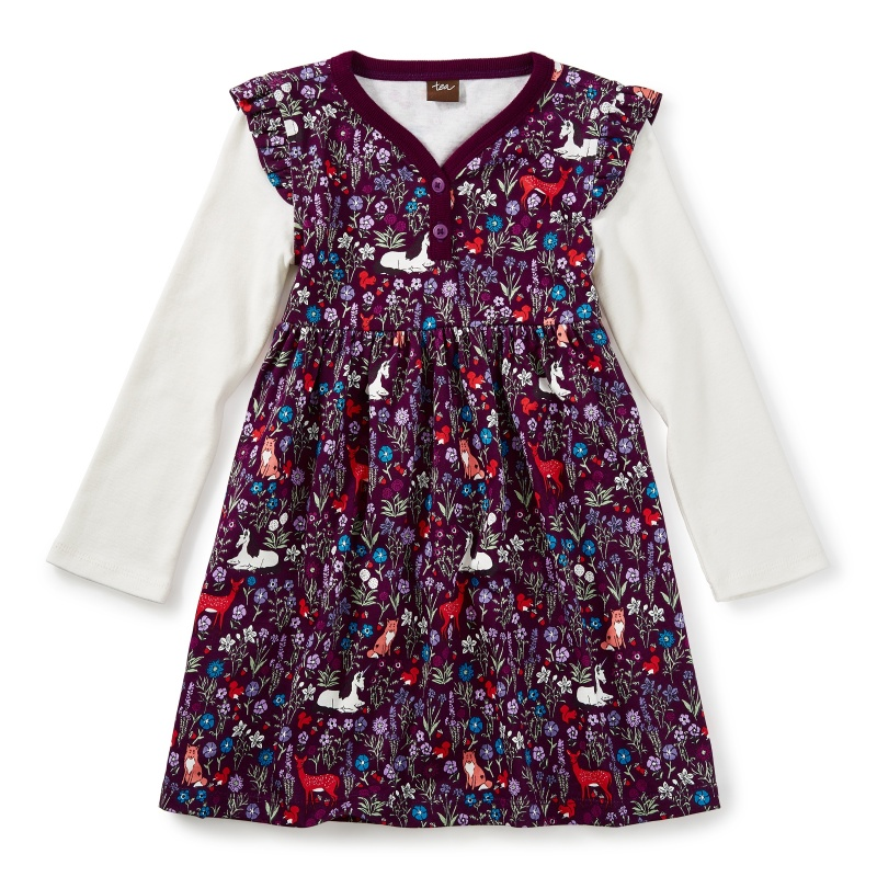 Woodland Button Neck Dress