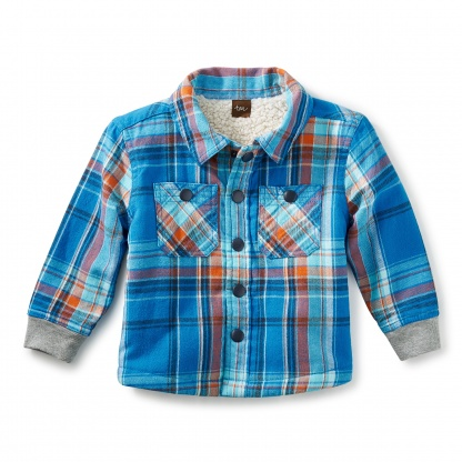Sherpa-Lined Flannel Baby Jacket