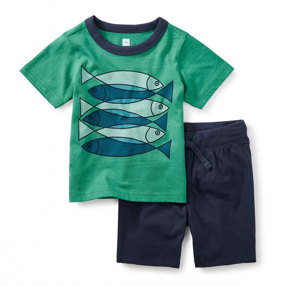 Fish school baby outfit tea collection for Baby fishing outfit