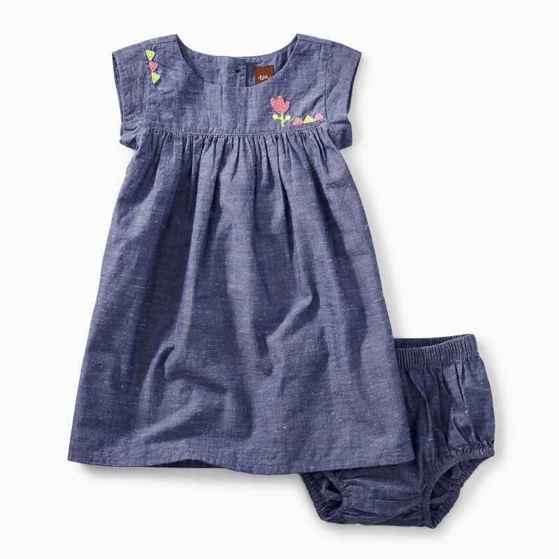 Embroidered Chambray Baby Dress