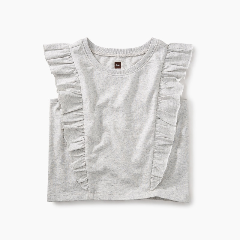 Short Sleeve Ruffle Knit Top
