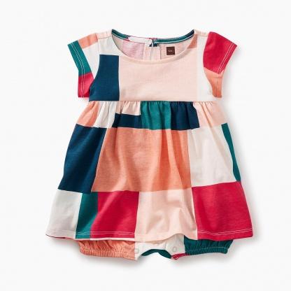 Patchwork Romper Dress