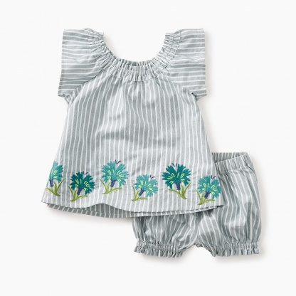 Floral Embroidered Baby Outfit