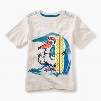 Surfing Pelican Graphic Tee