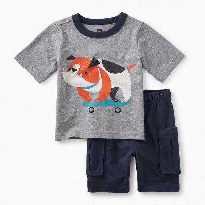 Skating Bulldog Baby Outfit