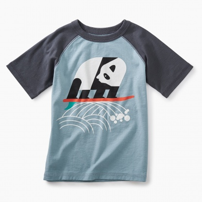 Surfing Panda Raglan Graphic Tee