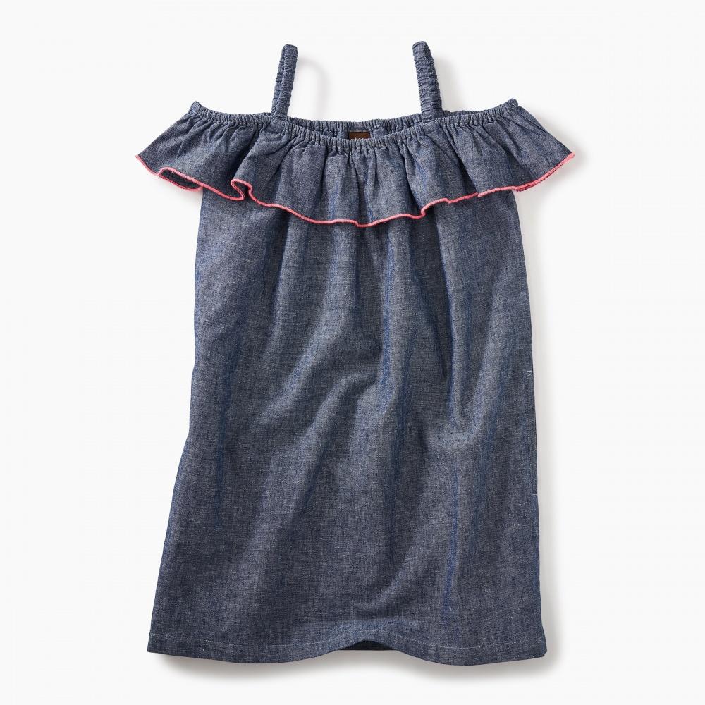 Chambray Ruffle Neck Dress