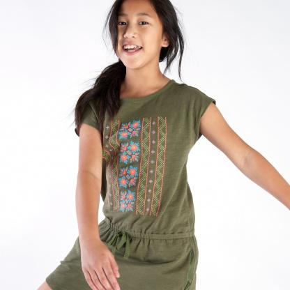 Geo Pattern Tie-Waist Dress