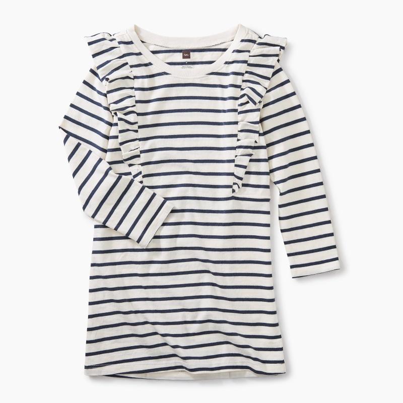 Striped Ruffle Shoulder Dress
