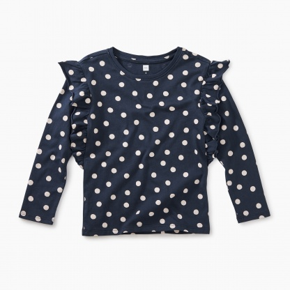 Stamped Dots Ruffle Sleeve Top