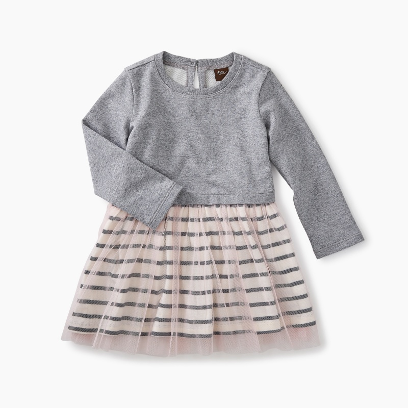 Striped Tulle Skirted Dress