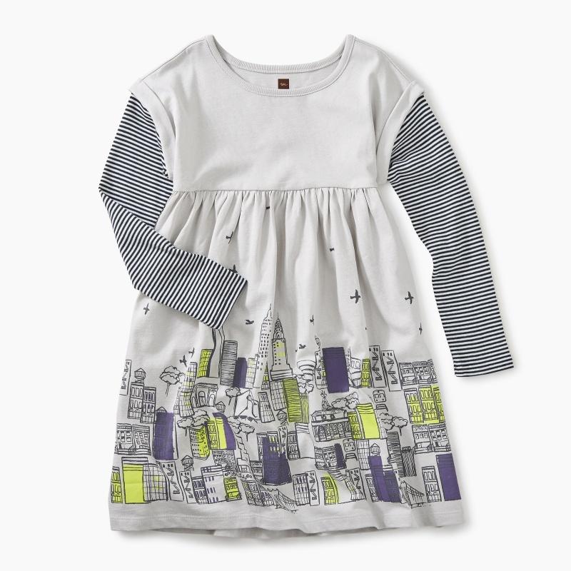Layered Sleeve Graphic Dress