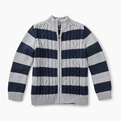Donegal Stripe Zip Cardigan