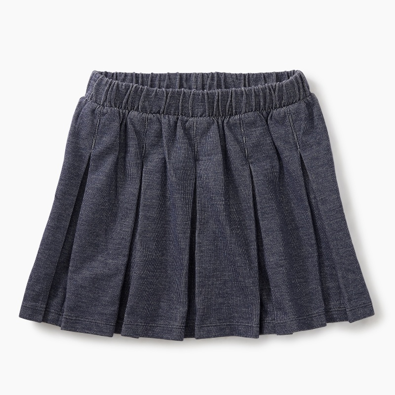 Denim Like Pleated Skirt